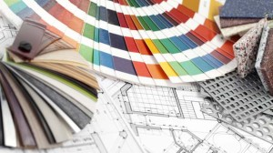 palette of colors designs for interior works, samples of plastic